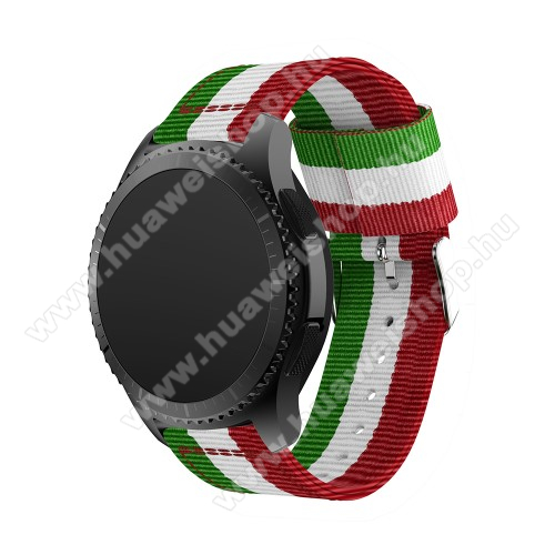 HUAWEI Watch GT 2 46mmOkosóra szíj - ZÖLD / FEHÉR /PIROS - Szövet - 95mm + 81mm hosszú, 22mm széles - SAMSUNG Galaxy Watch 46mm / SAMSUNG Gear S3 Classic / SAMSUNG Gear S3 Frontier