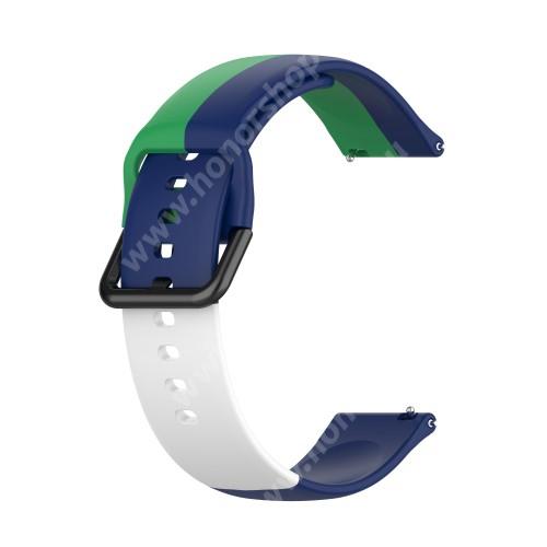 Okosóra szíj - ZÖLD / KÉK / FEHÉR - szilikon - 88mm + 130mm hosszú, 22mm széles - SAMSUNG Galaxy Watch 46mm / Watch GT2 46mm / Watch GT 2e / Galaxy Watch3 45mm / Honor MagicWatch 2 46mm