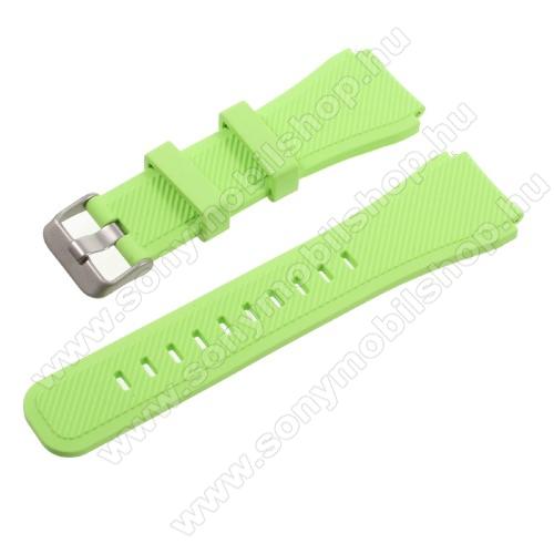 Okosóra szíj - ZÖLD - szilikon - 90 + 103mm hosszú, 22mm széles - SAMSUNG Galaxy Watch 46mm / SAMSUNG Gear S3 Classic / SAMSUNG Gear S3 Frontier