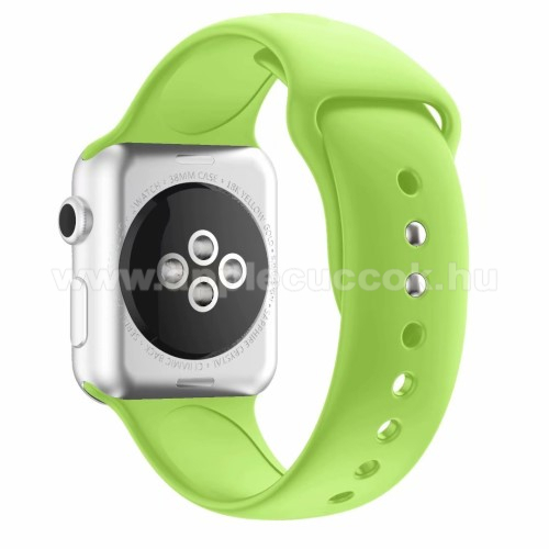 APPLE Watch Series 4 44mm Okosóra szíj - ZÖLD - szilikon - APPLE Watch Series 3/2/1 42mm / APPLE Watch Series 4 44mm