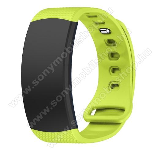 Okosóra szíj - ZÖLD - szilikon, L-es méret, 90mm+123mm hosszú, 150mm-től 213mm-es méretű csuklóig ajánlott - SAMSUNG Gear Fit 2 SM-R360 / Samsung Gear Fit 2 Pro SM-R365