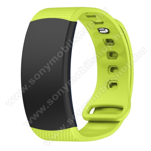 Okosóra szíj - ZÖLD - szilikon, S-es méret, 95mm+90mm hosszú, 126mm-től 175mm-es méretű csuklóig ajánlott - SAMSUNG Gear Fit 2 SM-R360 / Samsung Gear Fit 2 Pro SM-R365