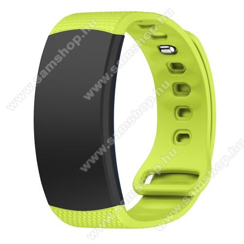 SAMSUNG Gear Fit 2 Pro (SM-R365)Okosóra szíj - ZÖLD - szilikon, S-es méret, 95mm+90mm hosszú, 126mm-től 175mm-es méretű csuklóig ajánlott - SAMSUNG Gear Fit 2 SM-R360 / Samsung Gear Fit 2 Pro SM-R365