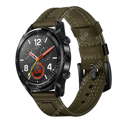 HUAWEI Watch Magic Okosóra szíj - ZÖLD - valódi bőr - 80mm + 120mm hosszú, 22mm széles - HUAWEI Watch GT / HUAWEI Watch Magic / Watch GT 2 46mm