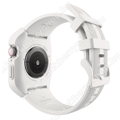 Okosóra szilikon szíj / műanyag tok - FEHÉR - összecsavarozható műanyag védő keret, szilikon szíj, 249mm hosszú, 44mm széles, 160-215mm-es csuklóra - APPLE Watch Series 5 44mm / APPLE Watch Series 4 44mm