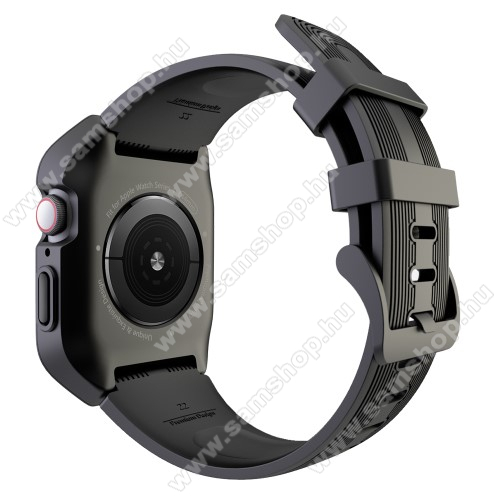 Okosóra szilikon szíj / műanyag tok - FEKETE - összecsavarozható műanyag védő keret, szilikon szíj, 249mm hosszú, 44mm széles, 160-215mm-es csuklóra - APPLE Watch Series 5 44mm / APPLE Watch Series 4 44mm