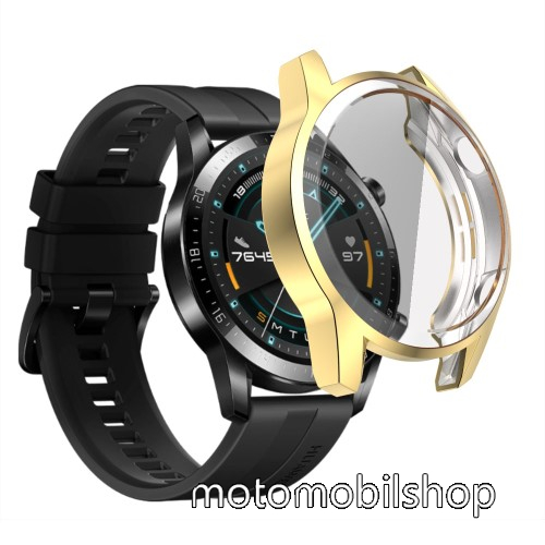 Okosóra szilikon védő tok / keret - ARANY - Szilikon előlapvédő is  - HUAWEI Watch GT 46mm / HUAWEI Watch GT 2 46mm / HONOR Magicwatch 2 46mm