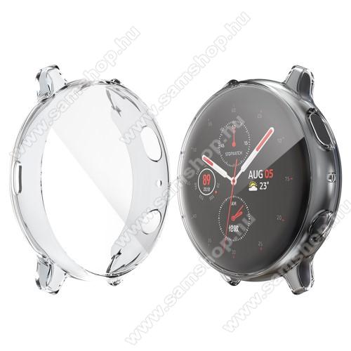SAMSUNG Galaxy Watch Active2 44mmOkosóra szilikon védő tok / keret - ÁTLÁTSZÓ - Szilikon előlapvédő is - SAMSUNG Galaxy Watch Active2 44mm