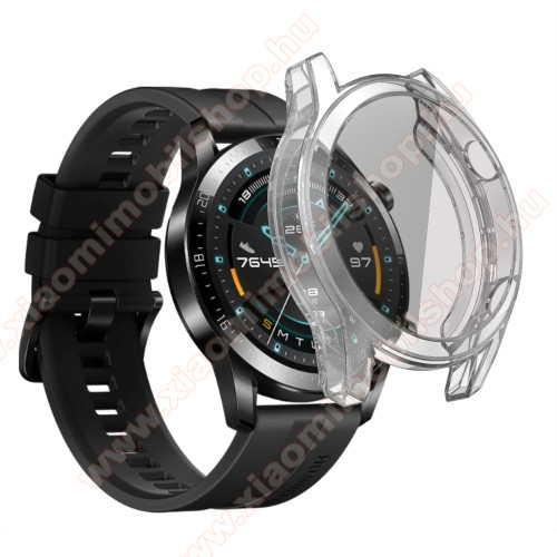 Okosóra szilikon védő tok / keret - ÁTLÁTSZÓ - Szilikon előlapvédő is  - HUAWEI Watch GT 46mm / HUAWEI Watch GT 2 46mm / HONOR Magicwatch 2 46mm