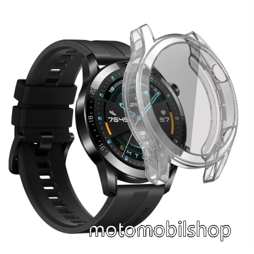 Okosóra szilikon védő tok / keret - ÁTLÁTSZÓ - Szilikon előlapvédő is  - HUAWEI Watch GT 46mm / HUAWEI Watch GT 2 46mm / HONOR Magicwatch 2 46mm