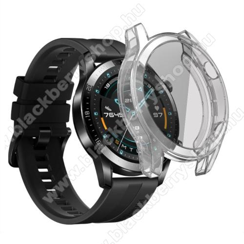 Okosóra szilikon védő tok / keret - ÁTLÁTSZÓ - Szilikon előlapvédő is  - HUAWEI Watch GT 2 46mm