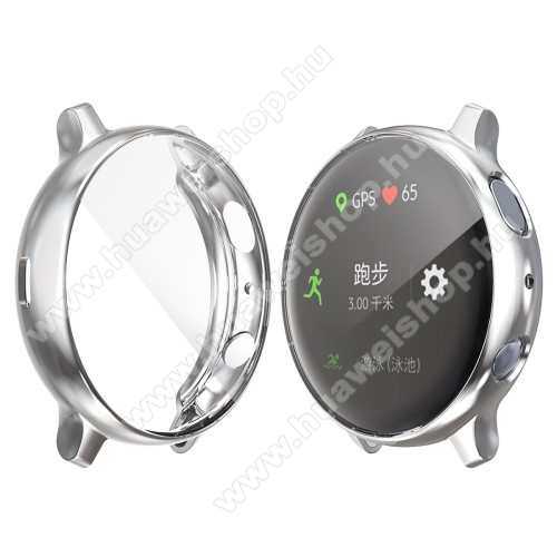 Okosóra szilikon védő tok / keret - EZÜST - Szilikon előlapvédő is - SAMSUNG Galaxy Watch Active2 44mm