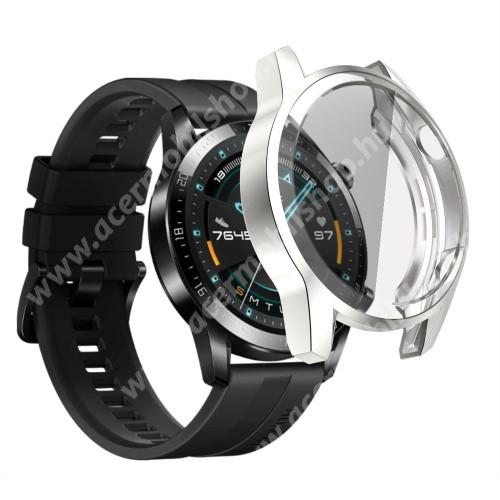 Okosóra szilikon védő tok / keret - EZÜST - Szilikon előlapvédő is  - HUAWEI Watch GT 2 46mm