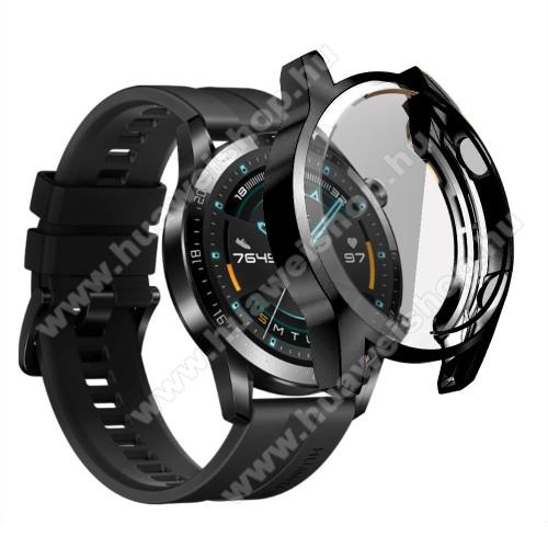 HUAWEI Watch GT 2 46mmOkosóra szilikon védő tok / keret - FEKETE - Szilikon előlapvédő is  - HUAWEI Watch GT 2 46mm
