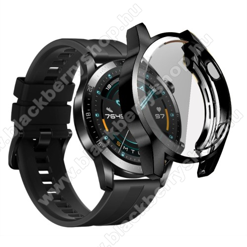 Okosóra szilikon védő tok / keret - FEKETE - Szilikon előlapvédő is  - HUAWEI Watch GT 2 46mm / HONOR Magicwatch 2 46mm