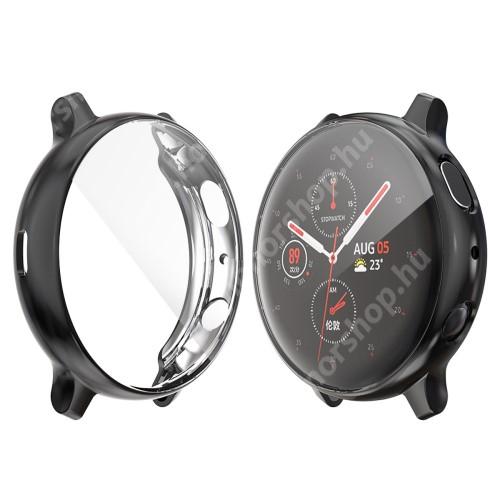 Okosóra szilikon védő tok / keret - FEKETE - Szilikon előlapvédő is - SAMSUNG Galaxy Watch Active2 44mm