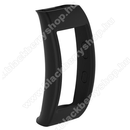 Okosóra szilikon védő tok / keret - FEKETE - SAMSUNG SM-R365 Gear Fit 2 Pro