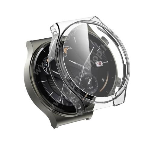 HUAWEI Watch GT 2 Pro 46mm Okosóra szilikon védő tok / keret - GALVANIZÁLT ÁTLÁTSZÓ - szilikon előlapvédő is - HUAWEI Watch GT 2 Pro