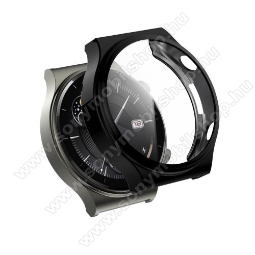 Okosóra szilikon védő tok / keret - GALVANIZÁLT FEKETE - Szilikon előlapvédő is! - 9H edzett üveg előlap védő is! - HUAWEI Watch GT 2 Pro