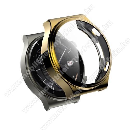 Okosóra szilikon védő tok / keret - GALVANIZÁLT ARANY - Szilikon előlapvédő is! - 9H edzett üveg előlap védő is! - HUAWEI Watch GT 2 Pro