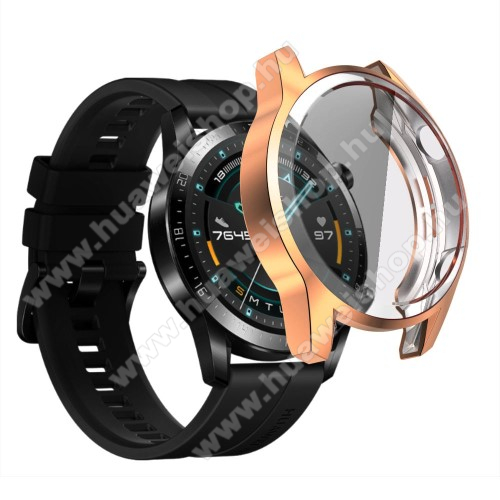Okosóra szilikon védő tok / keret - ROSE GOLD - Szilikon előlapvédő is  - HUAWEI Watch GT 2 46mm / HONOR Magicwatch 2 46mm