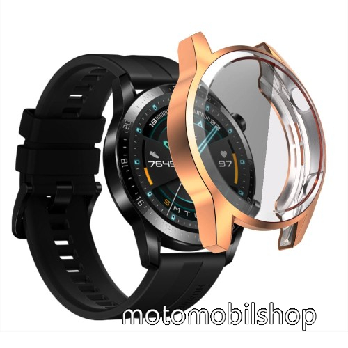 Okosóra szilikon védő tok / keret - ROSE GOLD - Szilikon előlapvédő is  - HUAWEI Watch GT 46mm / HUAWEI Watch GT 2 46mm / HONOR Magicwatch 2 46mm