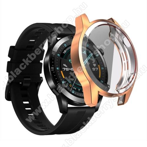 Okosóra szilikon védő tok / keret - ROSE GOLD - Szilikon előlapvédő is  - HUAWEI Watch GT 2 46mm