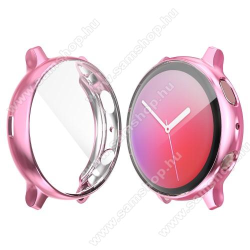 SAMSUNG Galaxy Watch Active2 44mmOkosóra szilikon védő tok / keret - RÓZSASZÍN - Szilikon előlapvédő is - SAMSUNG Galaxy Watch Active2 44mm