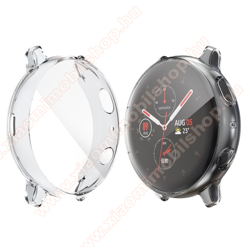 Okosóra szilikon védő tok / keret - Szilikon előlapvédő is - SAMSUNG Galaxy Watch Active2 40mm - ÁTLÁTSZÓ