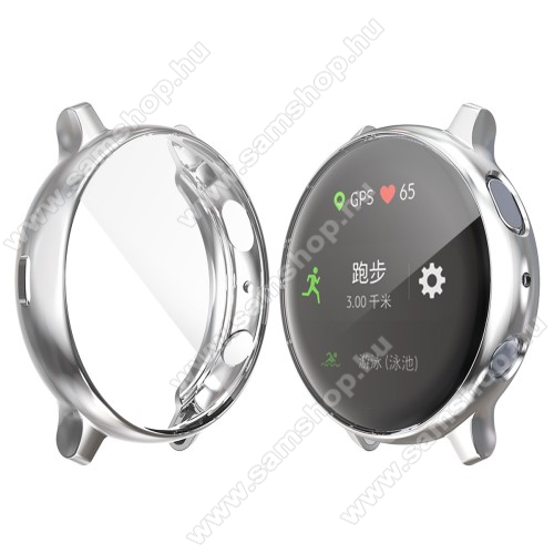 SAMSUNG Galaxy Watch Active2 40mm Okosóra szilikon védő tok / keret - Szilikon előlapvédő is - SAMSUNG Galaxy Watch Active2 40mm - EZÜST