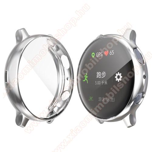 Okosóra szilikon védő tok / keret - Szilikon előlapvédő is - SAMSUNG Galaxy Watch Active2 40mm - EZÜST