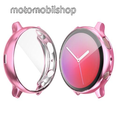 Okosóra szilikon védő tok / keret - Szilikon előlapvédő is - SAMSUNG Galaxy Watch Active2 40mm - RÓZSASZÍN