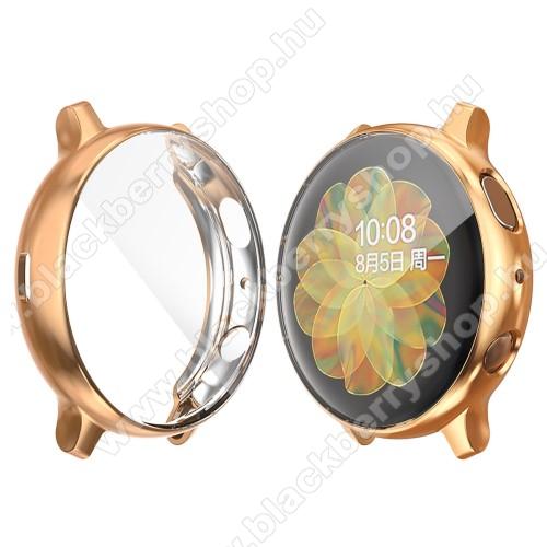 Okosóra szilikon védő tok / keret - Szilikon előlapvédő is - SAMSUNG Galaxy Watch Active2 40mm - ROSE GOLD