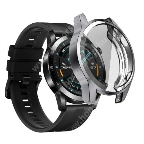 HUAWEI Watch GT 2 46mm Okosóra szilikon védő tok / keret - SZÜRKE - Szilikon előlapvédő is  - HUAWEI Watch GT 2 46mm