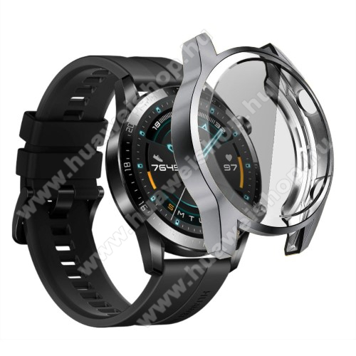 Okosóra szilikon védő tok / keret - SZÜRKE - Szilikon előlapvédő is  - HUAWEI Watch GT 2 46mm / HONOR Magicwatch 2 46mm