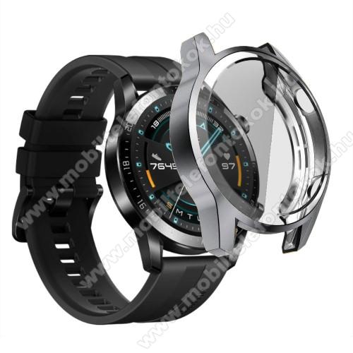 Okosóra szilikon védő tok / keret - SZÜRKE - Szilikon előlapvédő is  - HUAWEI Watch GT 2 46mm