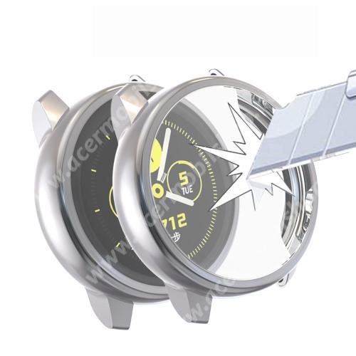 Okosóra szilikontok - A teljes előlapot védi, 360 fokos védelem! - SZÜRKE - SAMSUNG SM-R500 Galaxy Watch Active