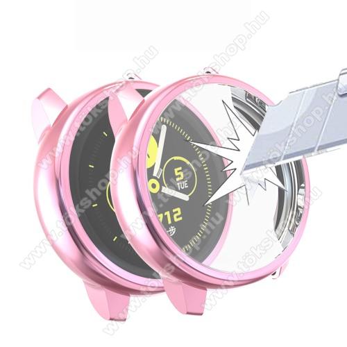 Okosóra szilikontok - A teljes előlapot védi, 360 fokos védelem! - RÓZSASZÍN - SAMSUNG SM-R500 Galaxy Watch Active