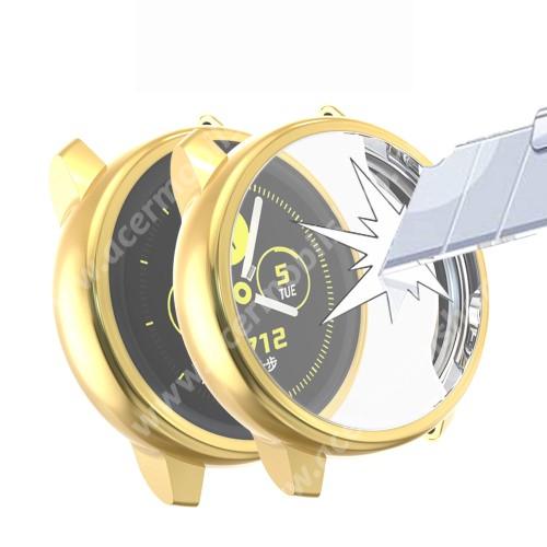 Okosóra szilikontok - A teljes előlapot védi, 360 fokos védelem! - ARANY - SAMSUNG SM-R500 Galaxy Watch Active