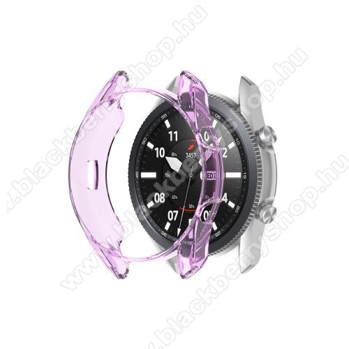 Okosóra szilikontok - ÁTTETSZŐ LILA - SAMSUNG Galaxy Watch3 41mm (SM-R855F)