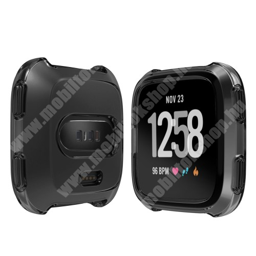 Okosóra szilikontok - FEKETE - Fitbit Versa / Fitbit Versa Lite