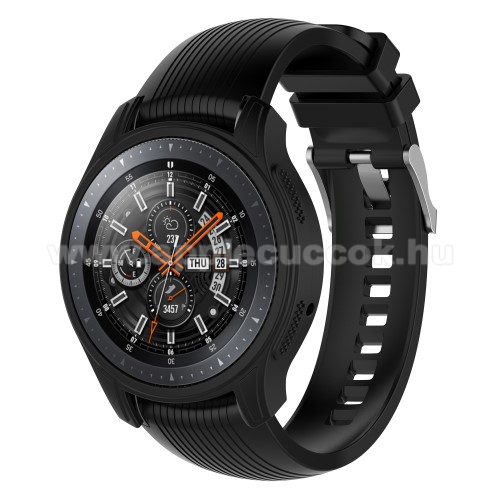 Okos�ra szilikontok - FEKETE - SAMSUNG Galaxy Watch 46mm / SAMSUNG Gear S3 Frontier