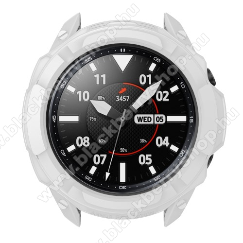 Okosóra szilikontok / műanyag lünetta védő - FEHÉR - SAMSUNG Galaxy Watch3 41mm (SM-R855F)