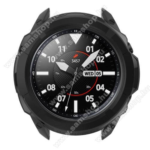 SAMSUNG Galaxy Watch3 41mm (SM-R855F)Okosóra szilikontok / műanyag lünetta védő - FEKETE - SAMSUNG Galaxy Watch3 41mm (SM-R855F)