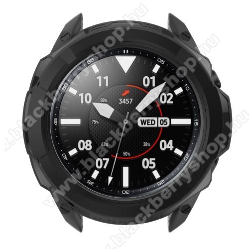 Okosóra szilikontok / műanyag lünetta védő - FEKETE - SAMSUNG Galaxy Watch3 41mm (SM-R855F)