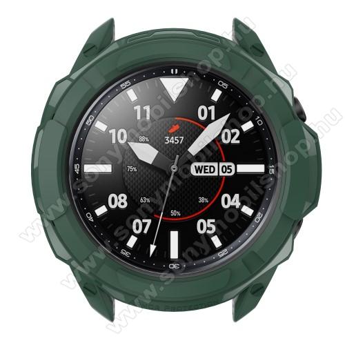 Okosóra szilikontok / műanyag lünetta védő - SÖTÉTZÖLD - SAMSUNG Galaxy Watch3 41mm (SM-R855F)