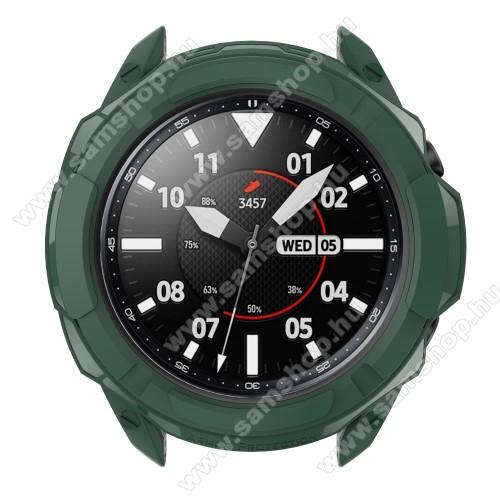 SAMSUNG Galaxy Watch3 41mm (SM-R855F)Okosóra szilikontok / műanyag lünetta védő - SÖTÉTZÖLD - SAMSUNG Galaxy Watch3 41mm (SM-R855F)
