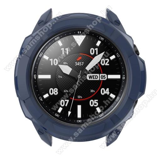 SAMSUNG Galaxy Watch3 41mm (SM-R855F)Okosóra szilikontok / műanyag lünetta védő - SÖTÉTKÉK - SAMSUNG Galaxy Watch3 41mm (SM-R855F)