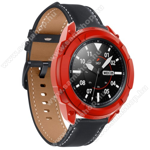 SAMSUNG Galaxy Watch3 41mm (SM-R855F)Okosóra szilikontok / műanyag lünetta védő - PIROS - SAMSUNG Galaxy Watch3 41mm (SM-R855F)