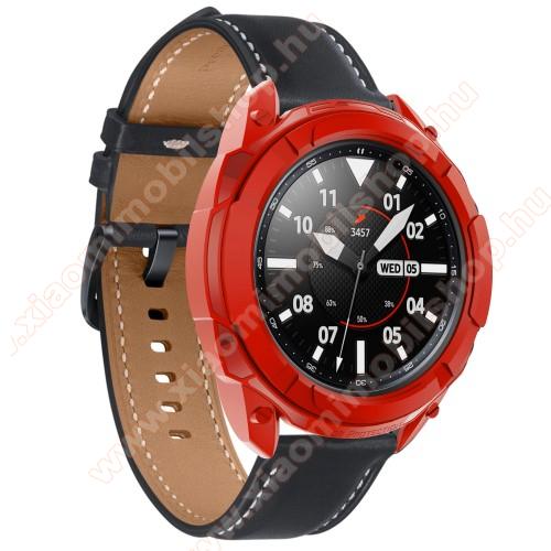 Okosóra szilikontok / műanyag lünetta védő - PIROS - SAMSUNG Galaxy Watch3 41mm (SM-R855F)